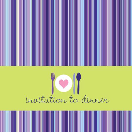 verde y morado: Cena invitaci�n con cuchara, tenedor, cuchillo y dinnerplate, retro a rayas de fondo