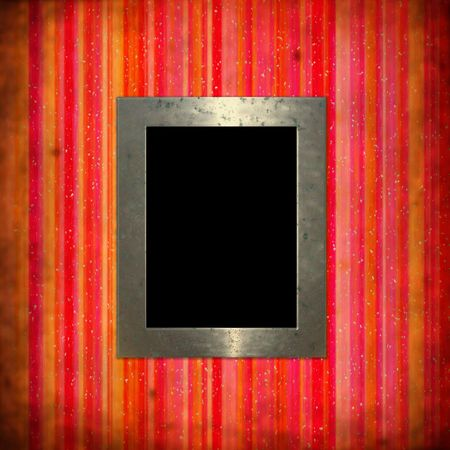 pictureframe: Rusty background with painted, vertical stripes in grunge style with picture frame