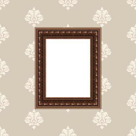 Baroque picture frame: Mur avec du papier peint � la mode en damas beige et tableau baroque Golden Frame Banque d'images