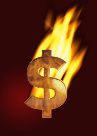 Burning dollar sign (gold) with flames and dark red background Stock Photo