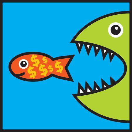 signos de pesos: Grandes peces con dientes afilados que comen los peces peque�os con signos de d�lar (recesi�n econ�mica, problemas de dinero, la quiebra) Foto de archivo