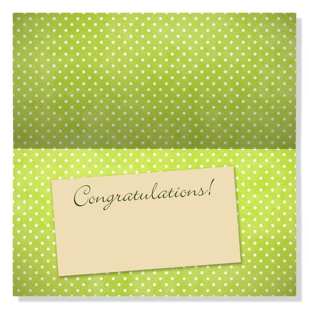 Trendy card with polkadots and label with copyspace to use as an announcement or greeting card Stock Photo - 4799853