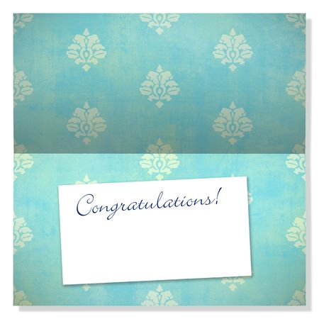 congratulations: Trendy card with damask pattern and label with copyspace to use as an announcement or greeting card