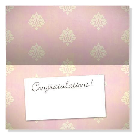 Trendy card with damask pattern and label with copyspace to use as an announcement or greeting card photo