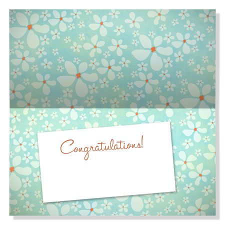 Trendy card with retro flowers and label with copyspace to use as an announcement or greeting card photo