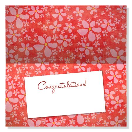 Trendy card with retro flowers and label with copyspace to use as an announcement or greeting card