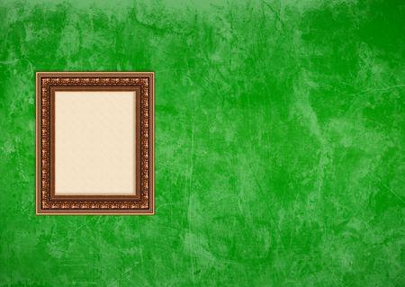 Baroque picture frame: Image vide baroque avec atelier sur un mur de stucco grunge vert  Banque d'images