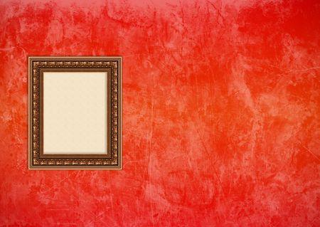 Baroque picture frame: Vider baroque cadre photo avec copyspace sur un rouge et orange grunge stuc mur