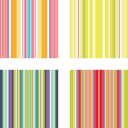 Four retro (seamless) vector stripe patterns in bright colors Stock Vector - 5414281