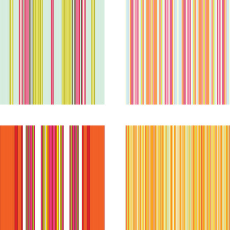 Four retro (seamless) vector stripe patterns in bright colors Vector