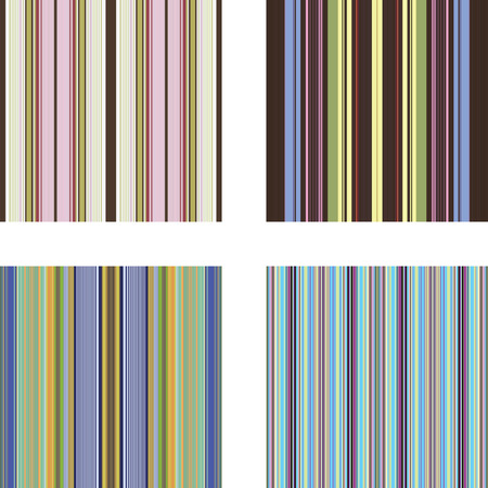 Four retro (seamless) vector stripe patterns in bright colors