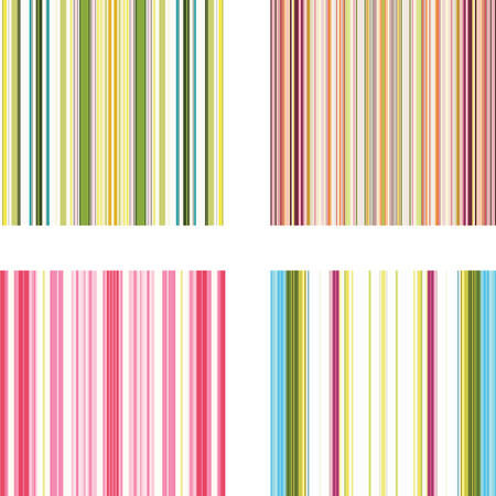 stripe: Four retro (seamless) vector stripe patterns in bright colors