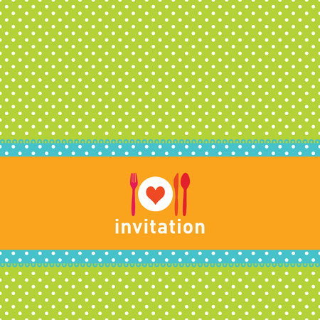 Greeting card or menu design with polkadots, fork, knife and spoon Vector