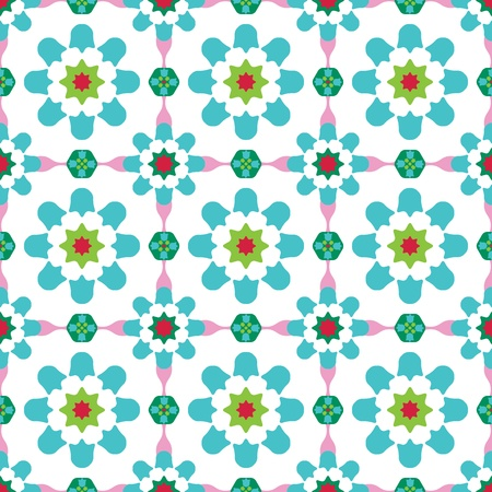 Texture design (seamless tiles) with flowers and stars in green, blue, pink, red Vector