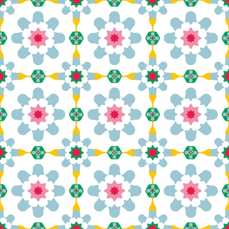 Texture design (seamless tiles) with flowers and stars in pink, red, blue, green, yellow Vector