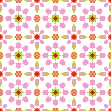 Texture design (seamless tiles) with flowers and stars in green, pink, red, orange Vector