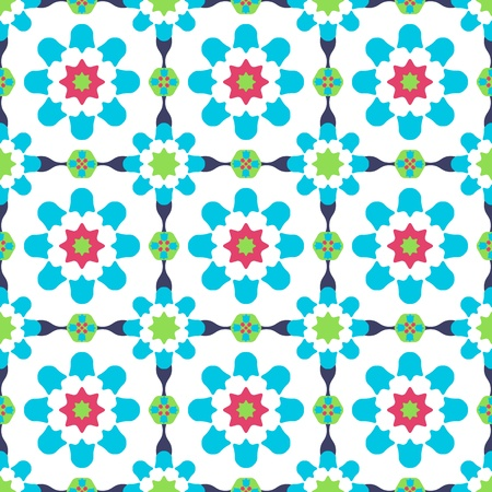 Texture design (seamless tiles) with flowers and stars in green, blue, pink