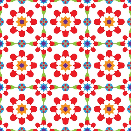 Texture design (seamless tiles) with flowers and stars in orange, purple, red, blue, green