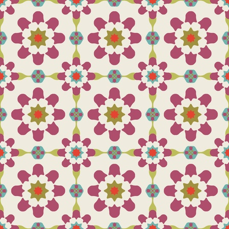 Texture design (seamless tiles) with flowers and stars in purple, red, blue, green, grey Vector