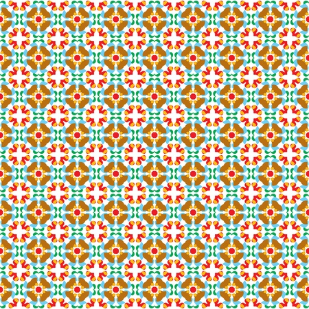 Retro style seamless pattern with flowers in the colors red, green, blue, orange, brown