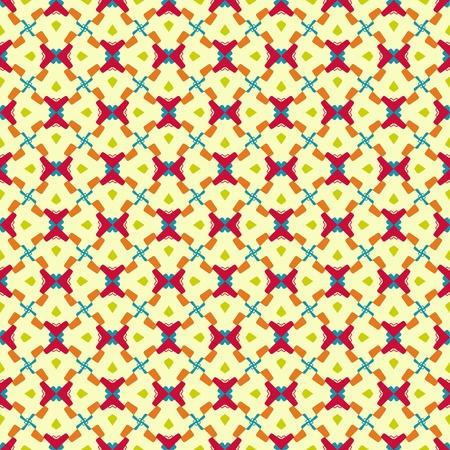 creme: Geometric pattern (seamless) in red, blue, green, orange, creme