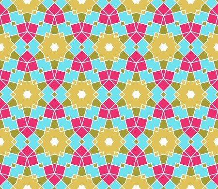 Pattern (seamless) with stars and squares in green, pink, blue Vector