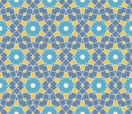 Pattern (seamless) with stars and squares in yellow, blue Vector