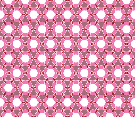 Geometrical vector pattern (seamless) with circles and diamonds in pink, red, orange, purple Vector