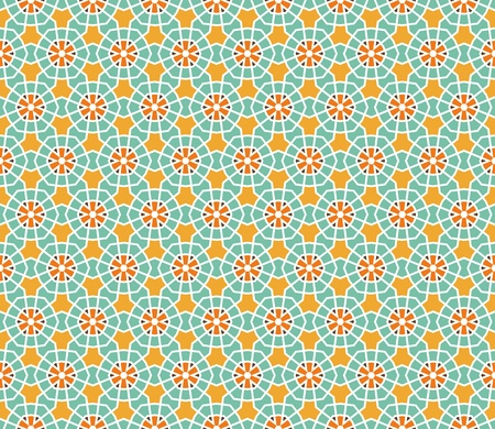 Geometrical vector pattern (seamless) with stars and flowers in orange, yellow, brown, green Illustration