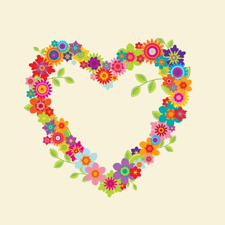 Heart with leaves and flowers on a creme (editable) background Vector