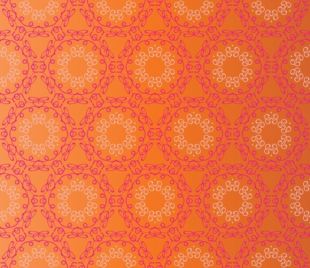 Stylish design with seamless lace flowers in pink on an (editable) orange background Vector