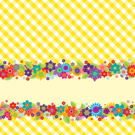 Greeting card with flowers, vichy pattern (editable) and a banner for your own message Illustration
