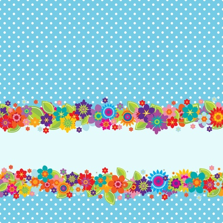 polkadot: Greeting card with flowers, polkadot pattern (editable) and a banner for your own message