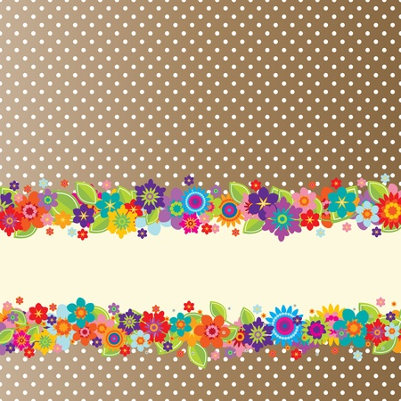 Greeting card with flowers, polkadot pattern (editable) and a banner for your own message