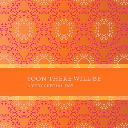Stylish invitation card with flower pattern and banner for your own message. For example to be used for marriage, birth, engagement, party. Fully editable vector.