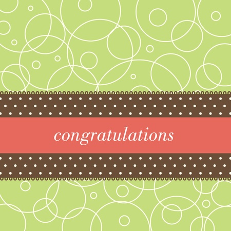 Square card with the word congratulations on a polka dot ribbon and a green background with circles