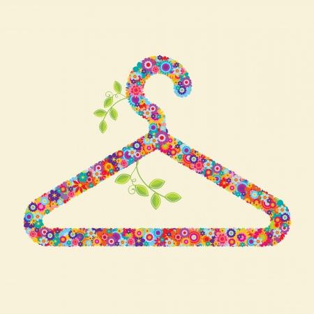 гардероб: Вешалка для одежды из цветов и ветвей. Вы можете использовать это для: экологически чистые одежды, экологически чистые моды и текстиля, справедливой торговли продуктами Иллюстрация