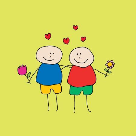 hombres gays: Ilustración de dos hombres homosexuales que están enamorados y mirando el uno al otro, volando sobre sus cabezas corazones