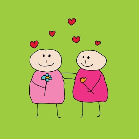 boda gay: Ilustración de dos mujeres lesbianas que se encuentran en el amor y mirando el uno al otro, volando sobre sus cabezas corazones