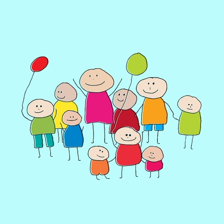 Drawing of a group of people or big family with little children and balloons Illustration