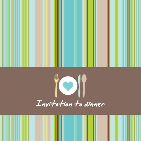 bistro: Greeting card with cutlery and plate on a background of retro stripes Illustration