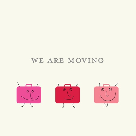 relocation: Square announcement of relocation with three suitcases with smiling faces