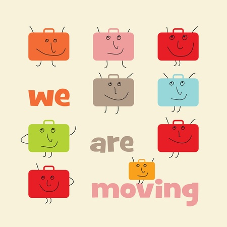 relocation: Square announcement of relocation with suitcases with smiling faces Illustration