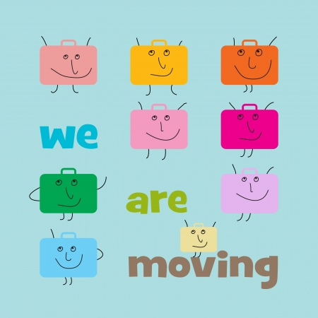 Square announcement of relocation with suitcases with smiling faces Vector