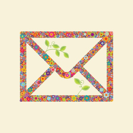 Envelope made out of bright colored flowers and two branches with green leaves Stock Vector - 12759442