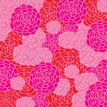 Background with romantic, painted roses in pink and red Vector