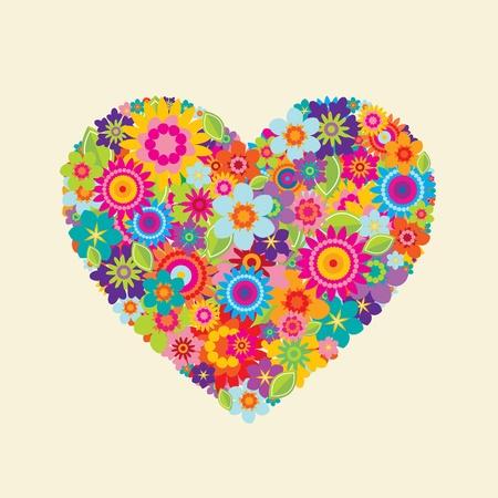 Corazón con hojas y flores sobre un fondo color crema
