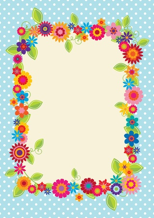 Design with polkadots and flowers to use as a frame, greeting card or decoration Vector