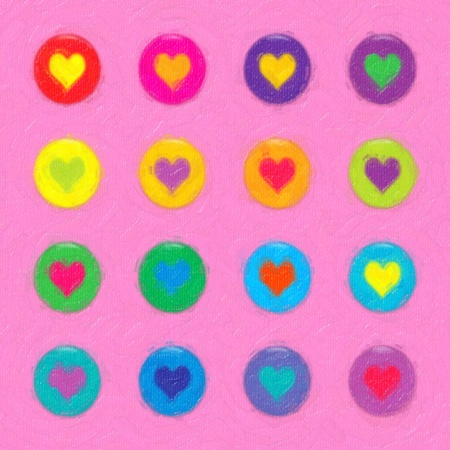 Painted circles with hearts. Colors: red, pink, purple, yellow, orange, green, blue. Stock Vector - 12759454