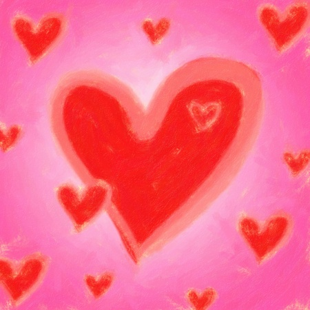 Painted hearts in very bright red and pink Vector